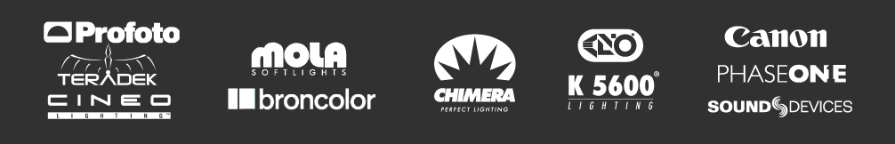 camera, lens, and lighting equipment brand logos