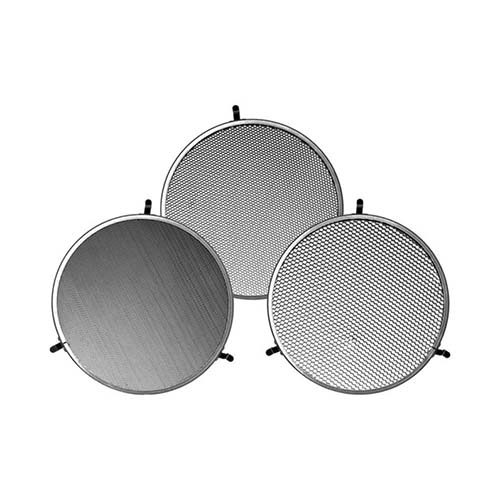 This is a StellarDesign Quality3 grid set w/ bag designed to fit the Broncolor P70 reflector. The grids provide beam spreads of 10°, 20°, or 30° when mounted on a Broncolor P70 Reflector. They are made by light-weight aircraft aluminum. Grids are essential accessories for any lighting system. These devices alter the shape and intensity of the light output from your flash heads. Using a grid will narrow the circle of light when it is attached to the front of your light source. The size of the circle of light will be determined by the density of the honeycomb, its thickness, and the distance of the subject. The lower the number is in degrees the smaller the circle of light.