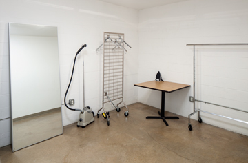 clothing rack, steamer and table