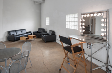 studio lounge and makeup area